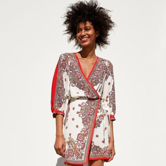 Zara Dresses & Skirts - Zara NWT Wrap Printed Dress Size M